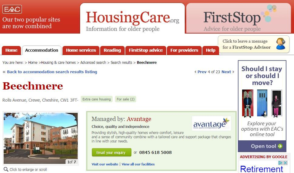 EAC HousingCare profile of specialist housing scheme